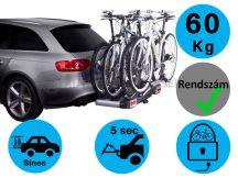 Thule Euroclassic G6 929 4 darabos kerékpártartó vonóhorogra + adapter 4. kerékpárhoz